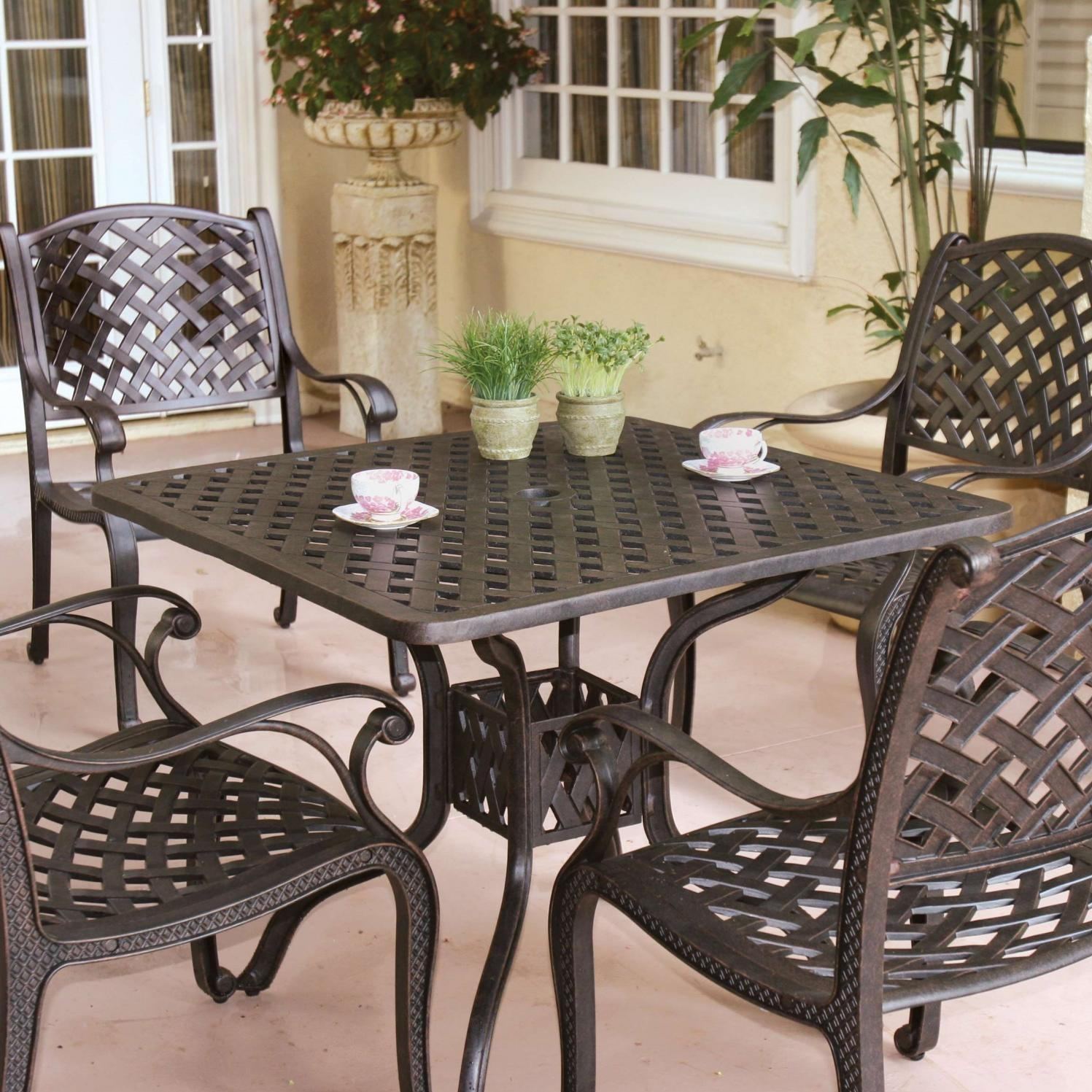 Darlee Nassau 5 Piece Cast Aluminum Patio Dining Set