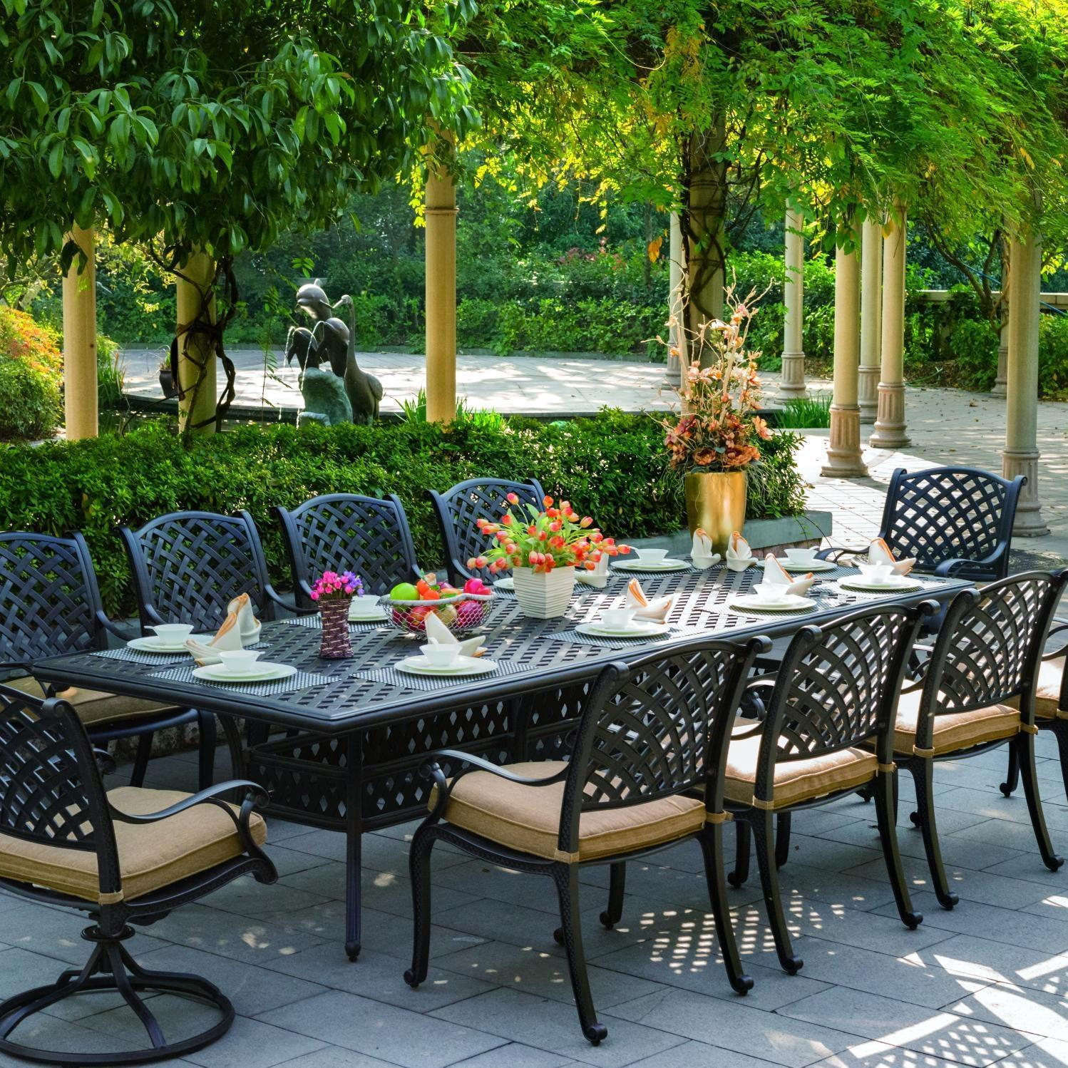 Darlee Nassau 11 Piece Cast Aluminum Patio Dining Set