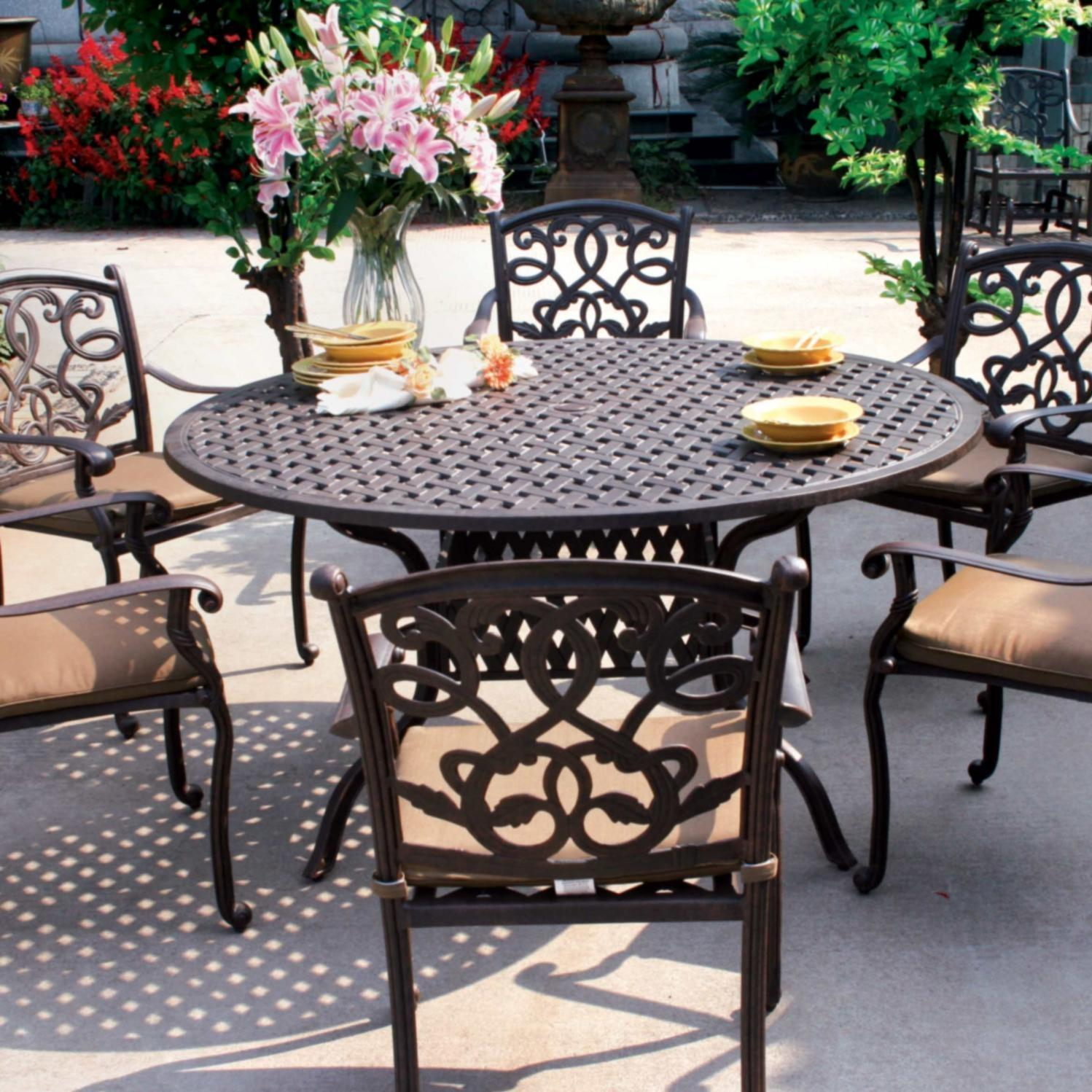 Darlee Santa Monica 7 Piece Cast Aluminum Patio Dining Set Round Table