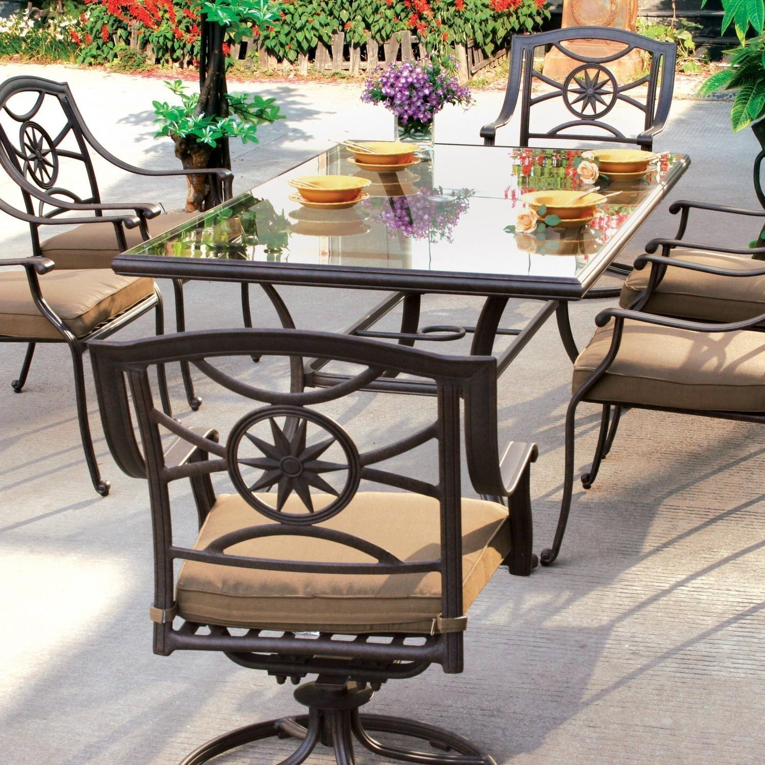 darlee ten star 7 piece patio dining set aluminum glass top. Black Bedroom Furniture Sets. Home Design Ideas