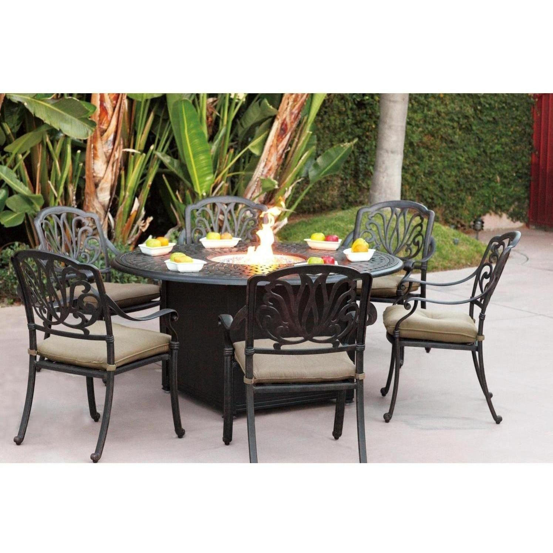 Darlee Elisabeth 7 Piece Patio Fire Pit Dining Set