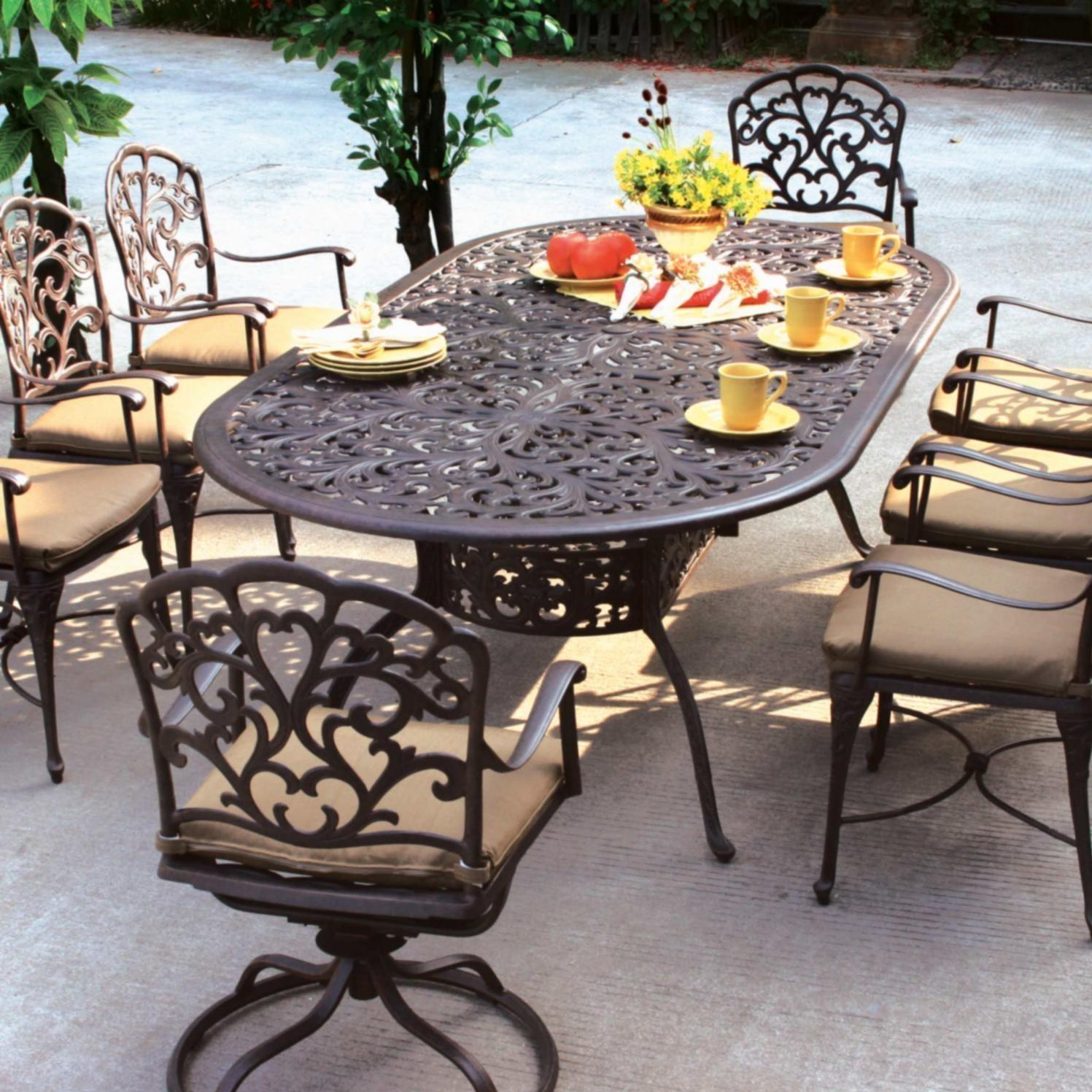 Darlee Catalina 8-Person Patio Dining Set - Antique Bronze
