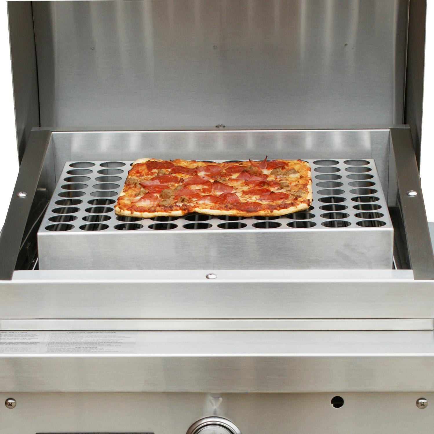 TEC Patio FR Series Stainless Steel Pizza Rack - Full View (Shown on Grill - Not Included)