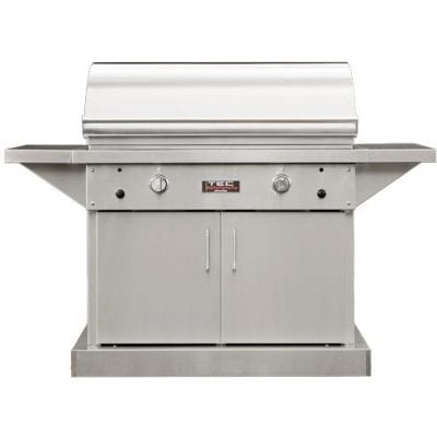 TEC Sterling Patio FR 44-Inch Freestanding Infrared Propane Gas Grill On Stainless Cabinet