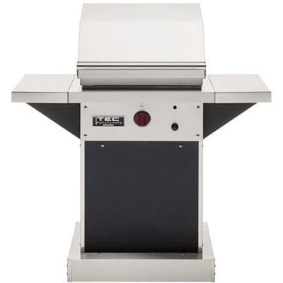 TEC Patio FR 26-Inch Freestanding Infrared Natural Gas Grill On Black Pedestal W/ Red Knobs
