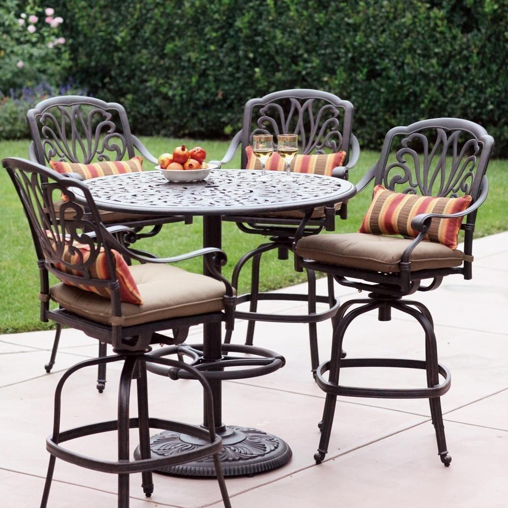 Darlee Elisabeth 5 Piece Cast Aluminum Patio Bar Set With Swivel Bar Stools