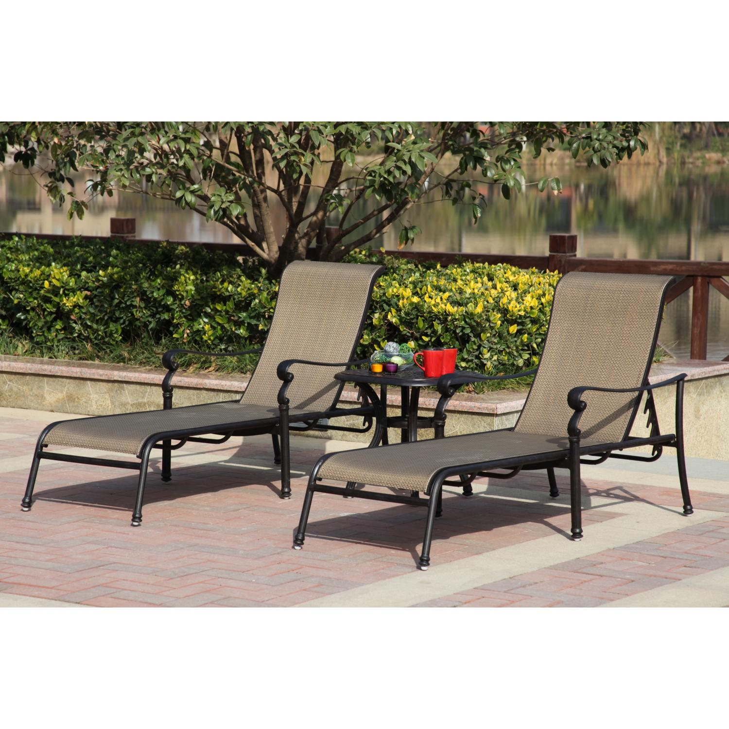 Darlee Monterey 3 Piece Sling Patio Chaise Lounge Set