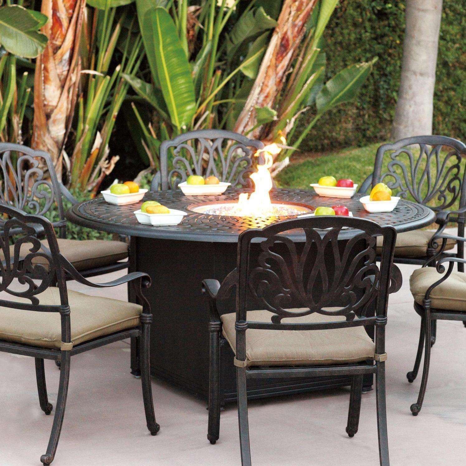 Darlee Elisabeth 7 Piece Fire Pit Dining Set