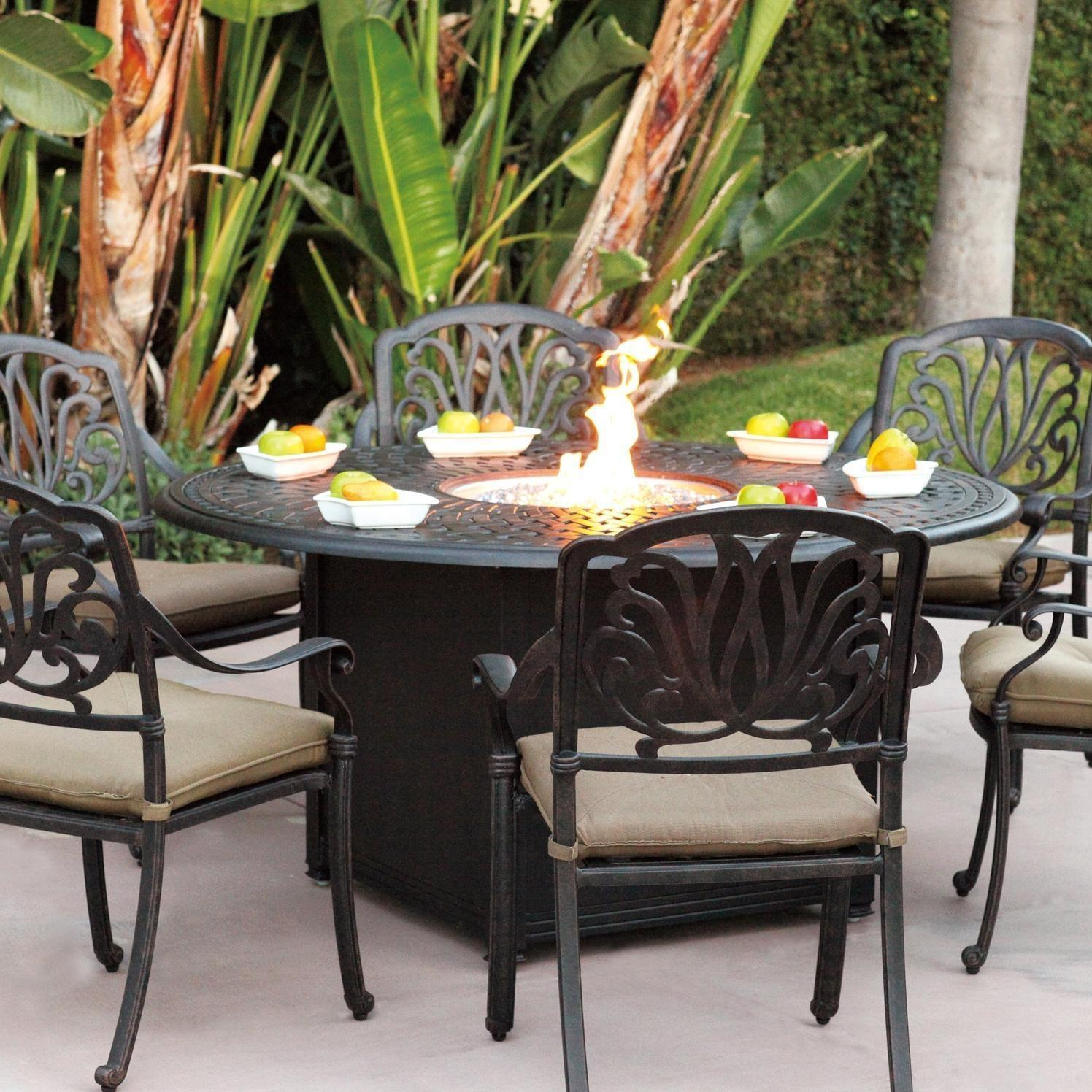 Darlee Elisabeth 7 Piece Cast Aluminum Patio Fire Pit Dining Set