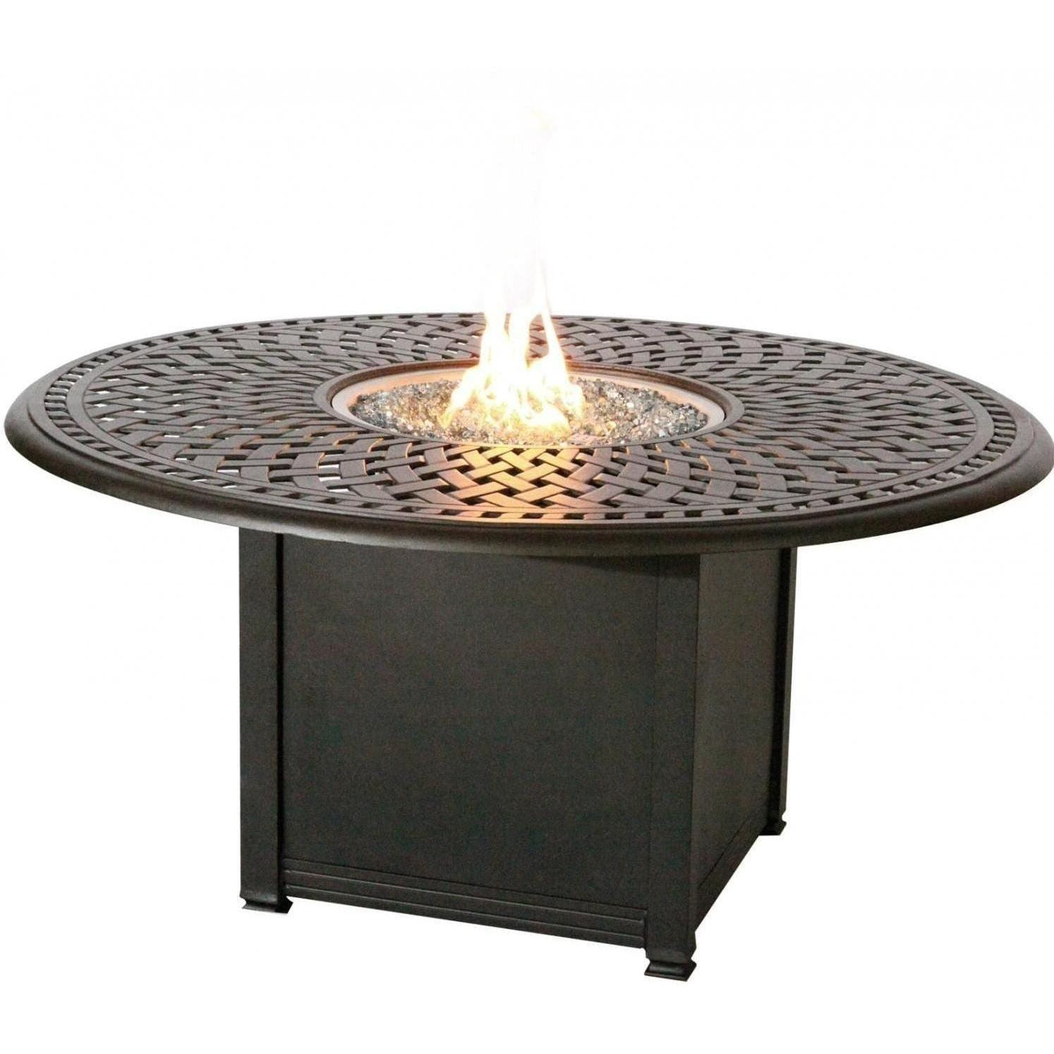 Darlee Elisabeth Piece Fire Pit Dining Set Cast Aluminum - Cast aluminum gas fire pit table