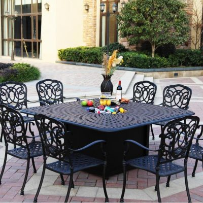 Darlee Florence 8-Person Patio Fire Pit Dining Set - Antique Bronze