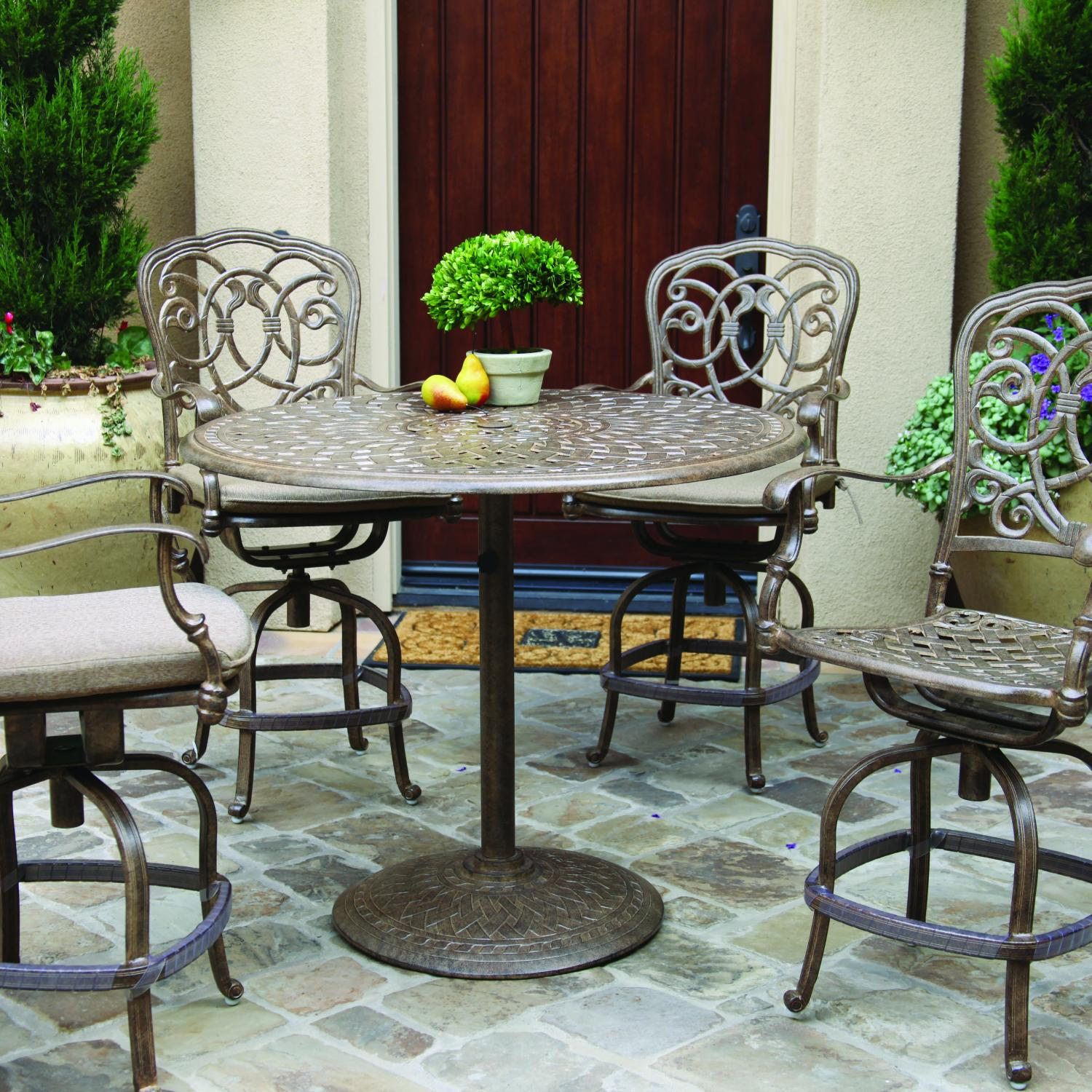 Excellent Darlee Florence 5 Piece Cast Aluminum Patio Counter Height Bar Set With Swivel Bar Stools Antique Bronze Spiritservingveterans Wood Chair Design Ideas Spiritservingveteransorg
