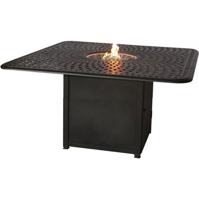 Darlee Square Counter Height Patio Table With Propane Fire Pit - Antique Bronze
