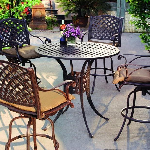Darlee Nassau 5 Piece Cast Aluminum Patio Bar Set
