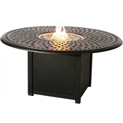 Darlee Round Patio Conversation Table With Propane Fire Pit - Antique Bronze