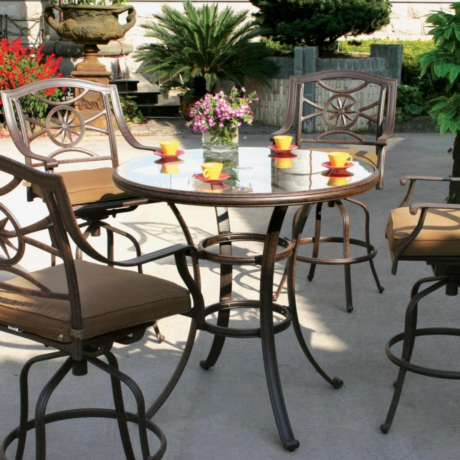 Darlee Ten Star 5 Piece Cast Aluminum Patio Bar Set
