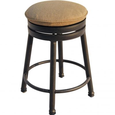 Darlee Cast Aluminum Outdoor Patio Round Bar Stool With Cushion - Antique Bronze