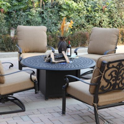 Darlee Santa Barbara 4-Person Cast Aluminum Patio Deep Seating Set With Fire Pit Table