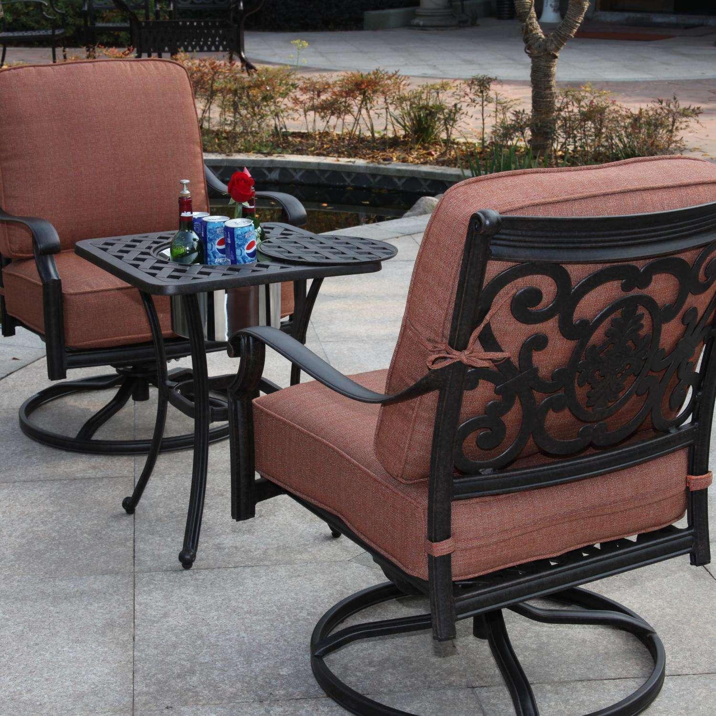Darlee St. Cruz 3 Piece Aluminum Patio Conversation Seating Set