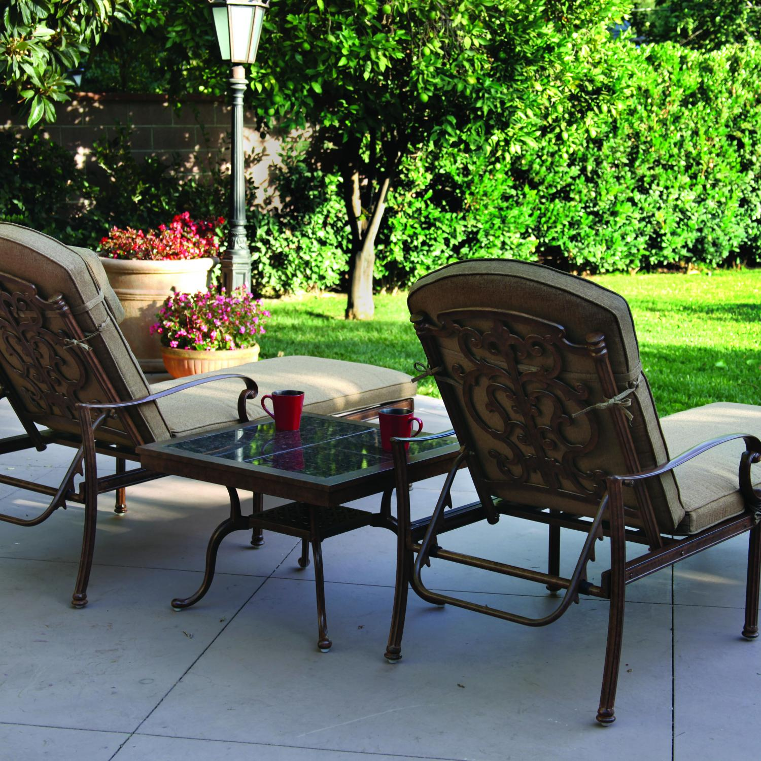 Darlee Santa Barbara 2-Person Patio Chaise Lounge Set - Mocha / Brown Granite Tile