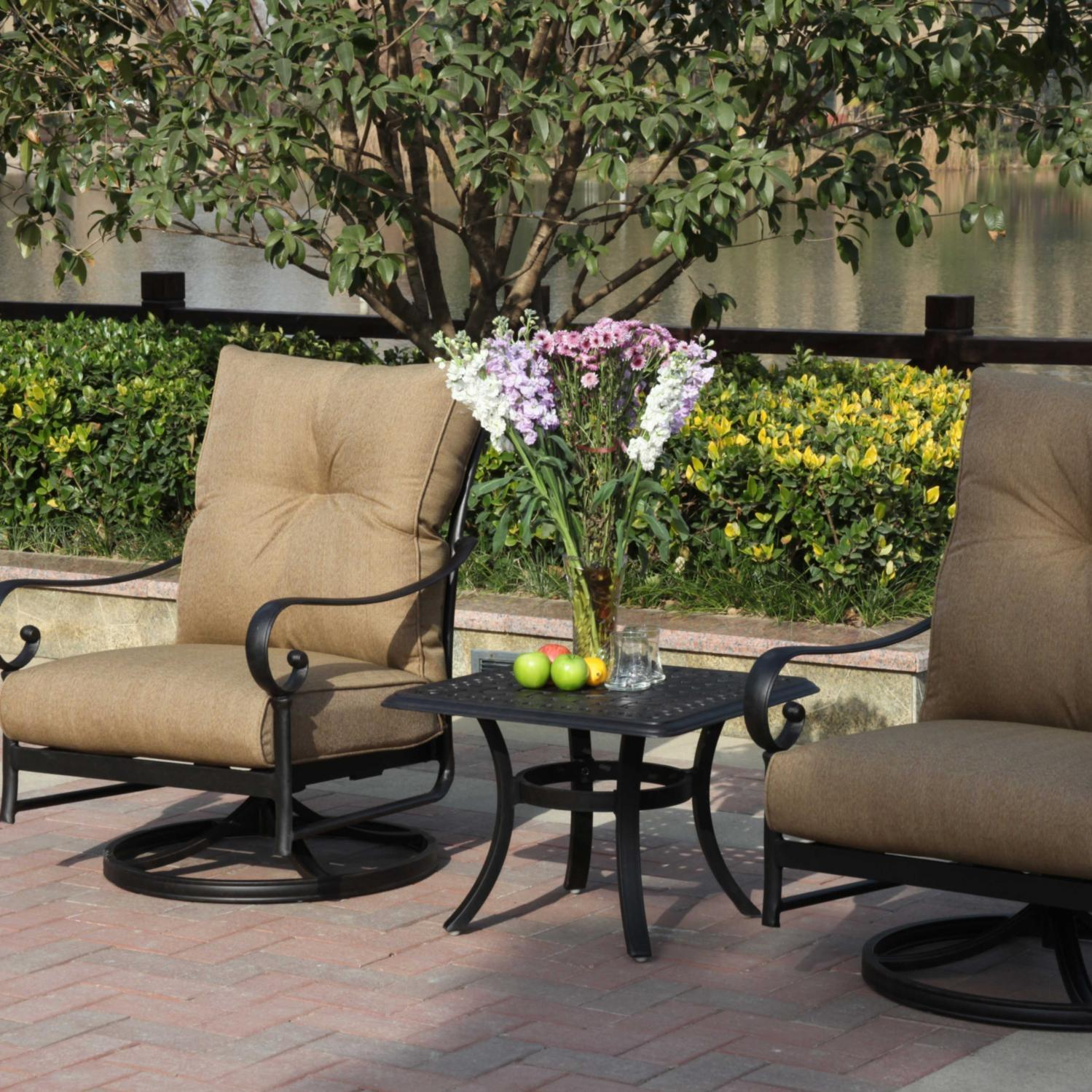 Darlee Santa Anita 3 Piece Aluminum Patio Conversation Seating Set