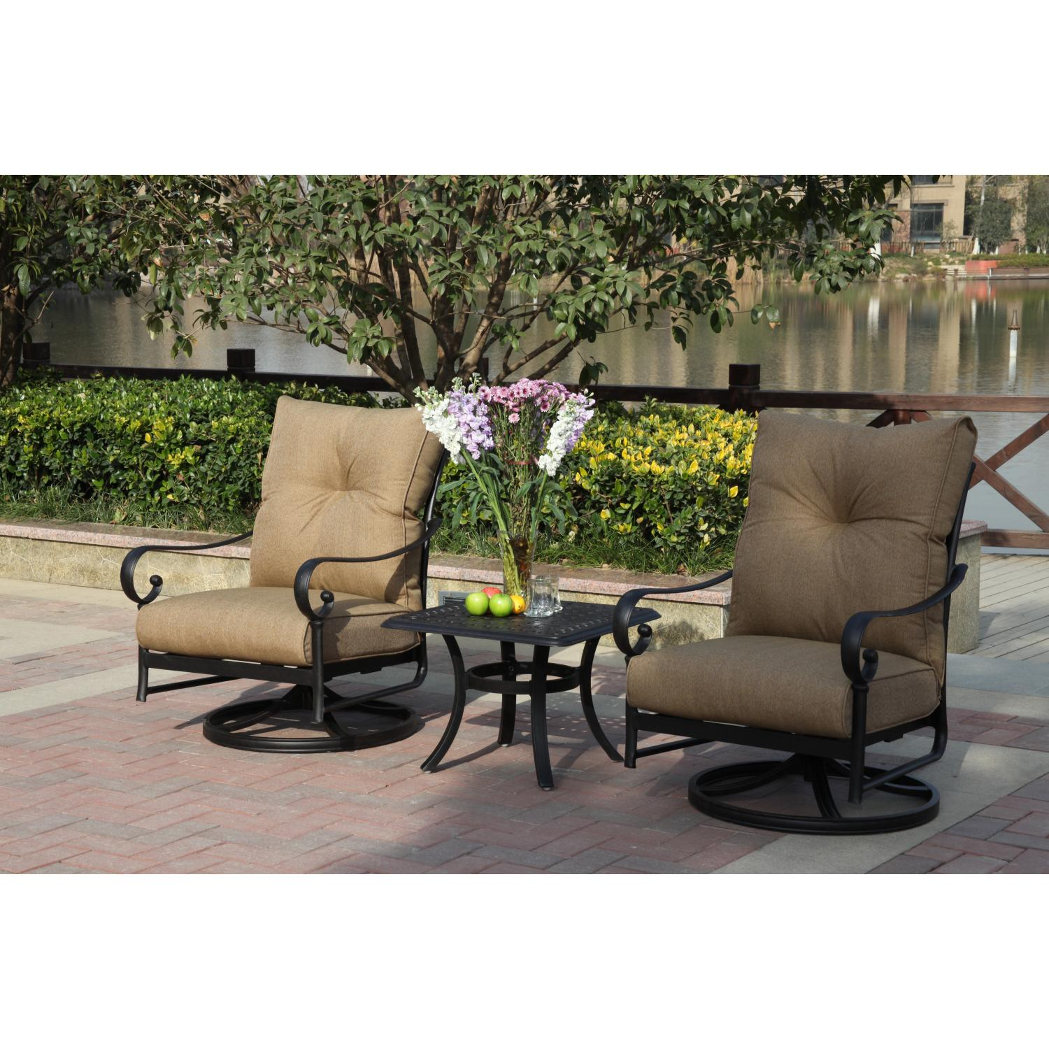 Darlee Santa Anita 3 Piece Cast Aluminum Patio Conversation Seating Set ...