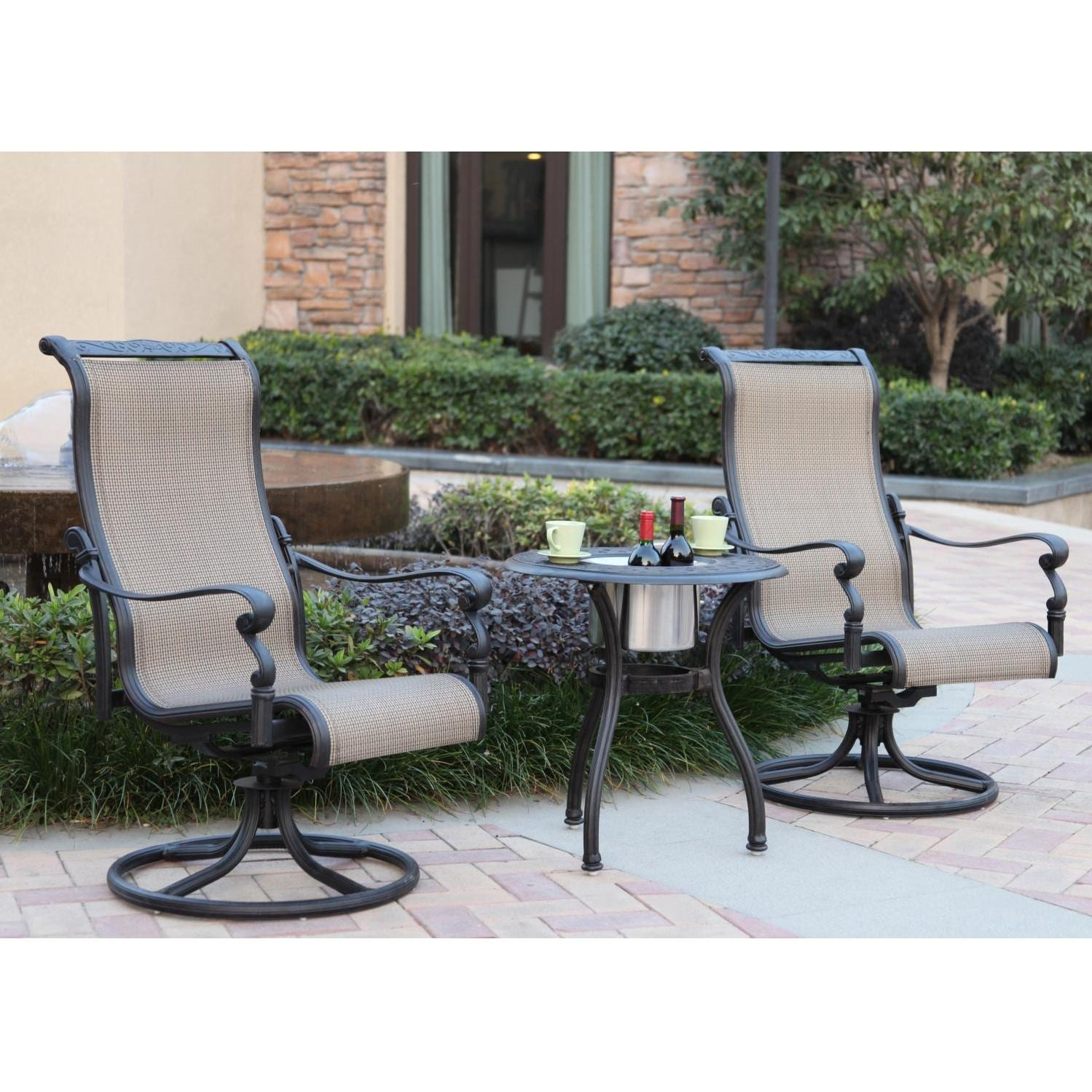 Darlee Monterey 3 Piece Sling Patio Bistro Set U2013 End Table ...