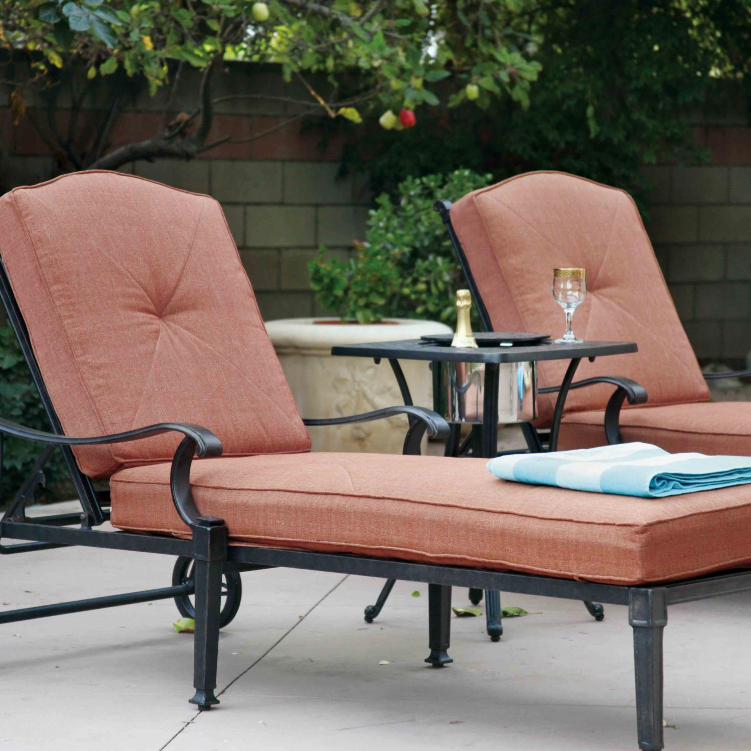 Darlee Charleston Patio Chaise Lounge Set - Antique Bronze
