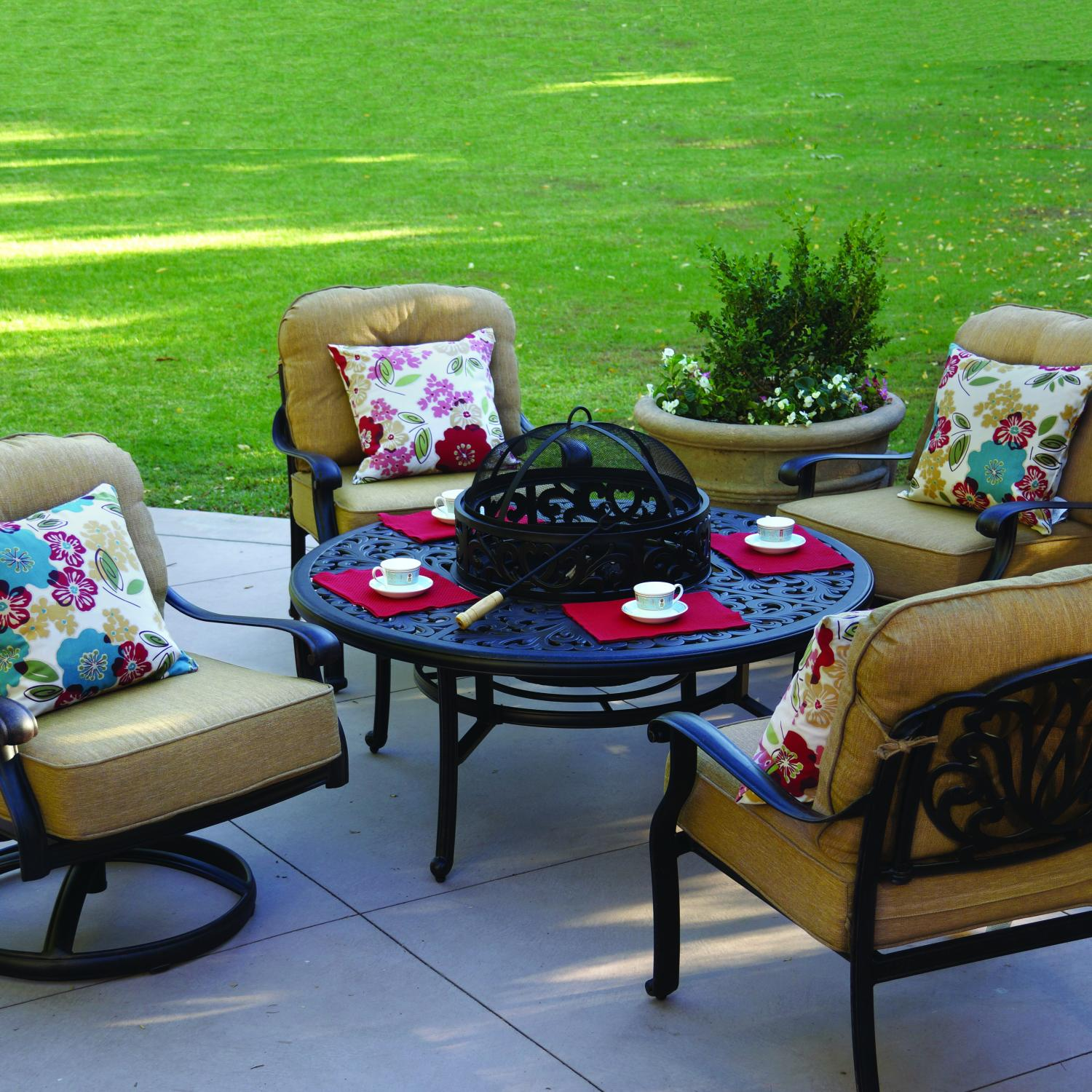 Darlee Elisabeth 4-Person Cast Aluminum Patio Conversation Set With BBQ Fire Pit And Ice Bucket Insert