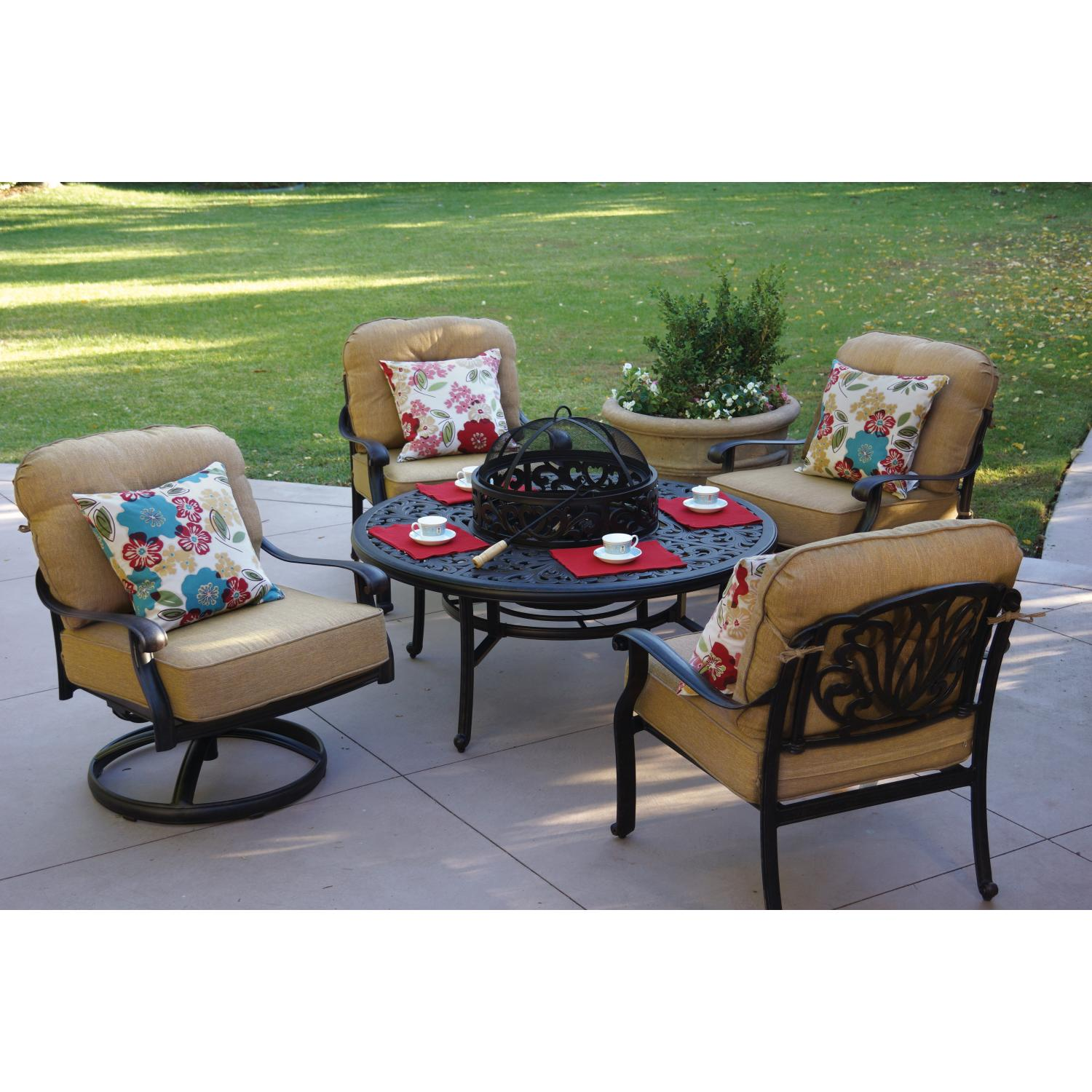 Darlee Elisabeth 5 Piece Patio Fire Pit Seating Set With Ice