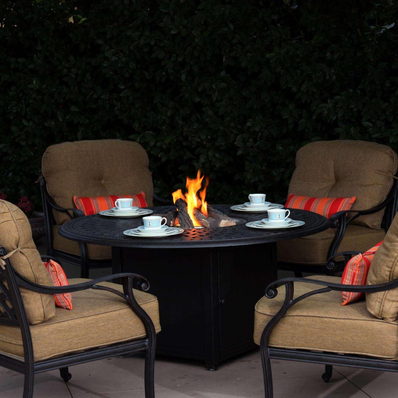 Darlee Nassau 4-Person Cast Aluminum Patio Conversation Set With Fire Pit Table