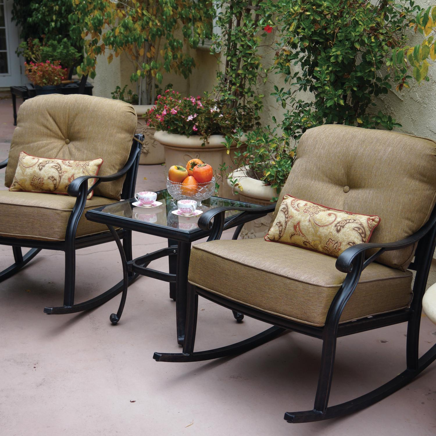 - Darlee Nassau 3 Piece Aluminum Patio Conversation Seating Set