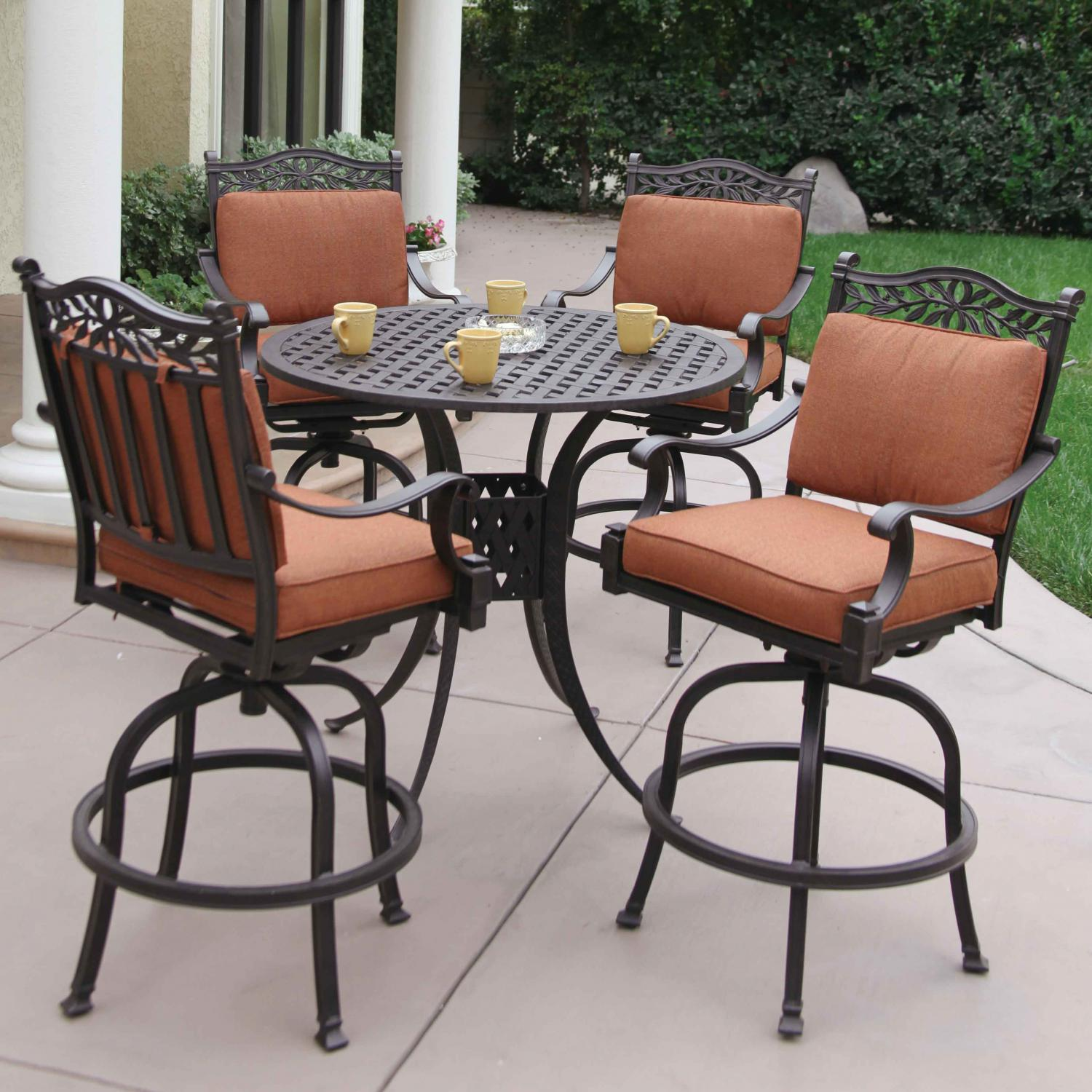 Darlee Charleston 5 Piece Cast Aluminum Patio Bar Set