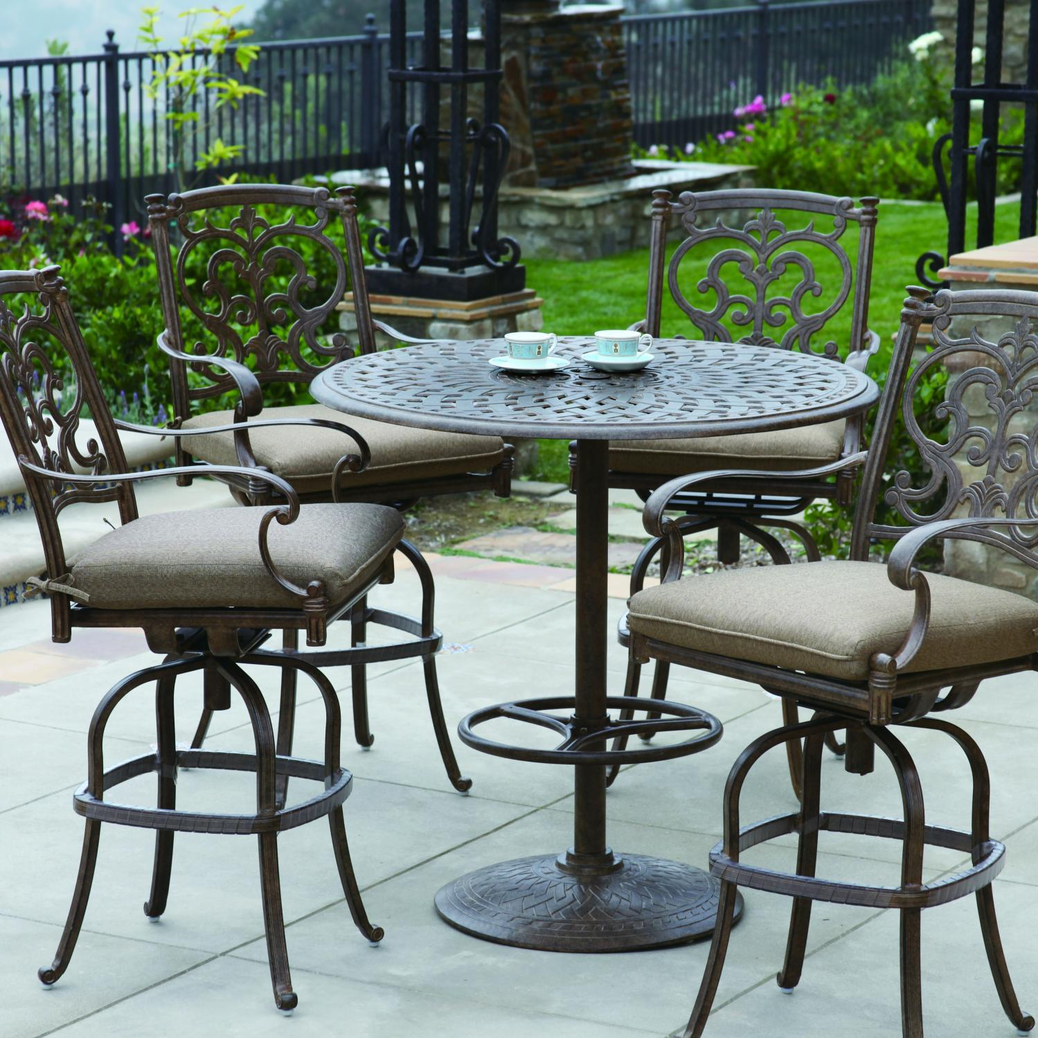 Darlee Santa Barbara 5 Piece Cast Aluminum Patio Bar Set