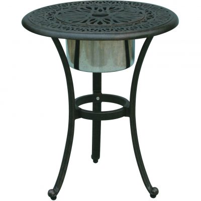 Darlee Elisabeth Patio End Table With Ice Bucket Insert - Antique Bronze
