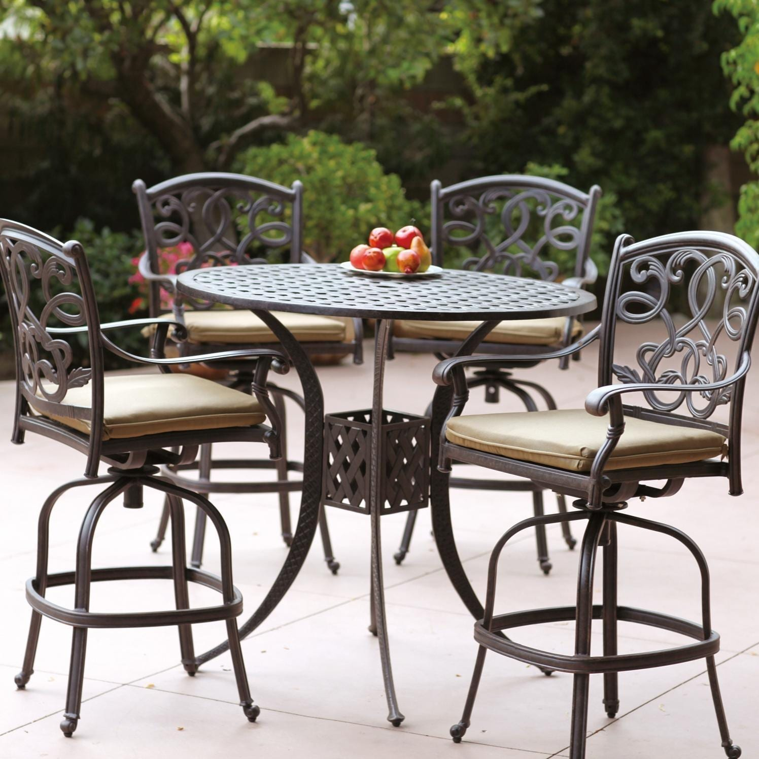 Darlee Santa Monica 5 Piece Cast Aluminum Patio Bar Set