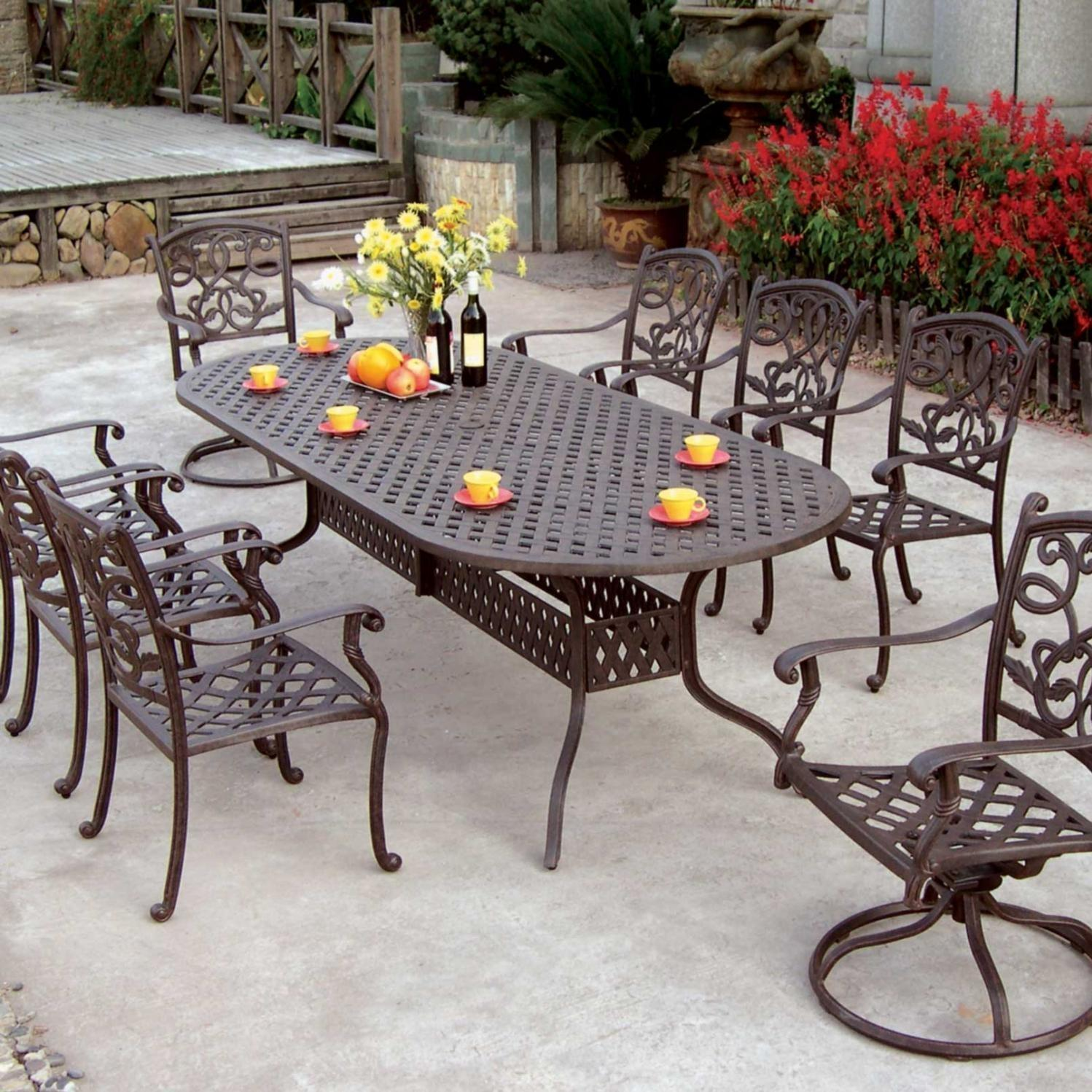 Darlee Santa Monica 9 Piece Cast Aluminum Patio Dining Set With Oval Table