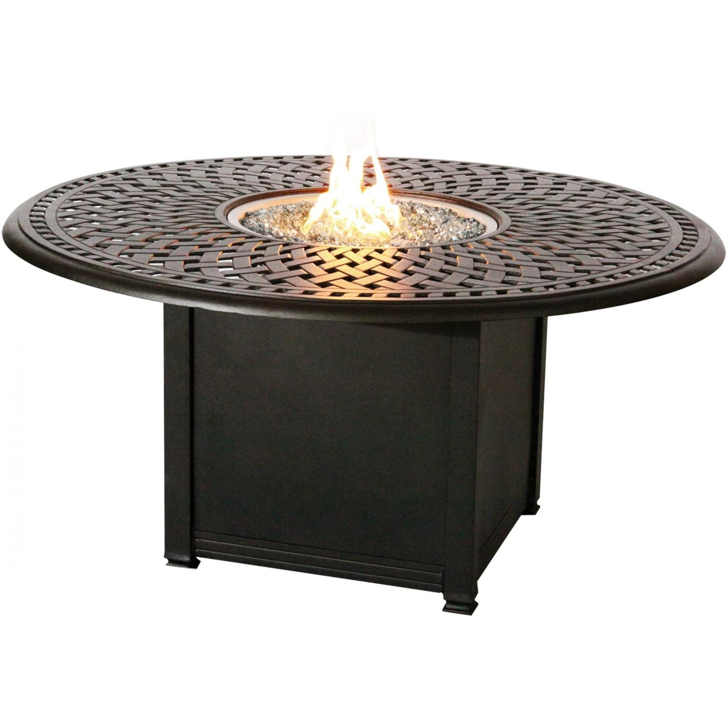 Darlee Vienna Piece Resin Wicker Patio Fire Pit Set - Resin wicker fire pit table