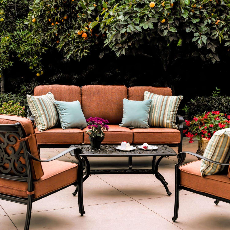 Darlee St. Cruz 4 Piece Aluminum Patio Conversation Seating Set