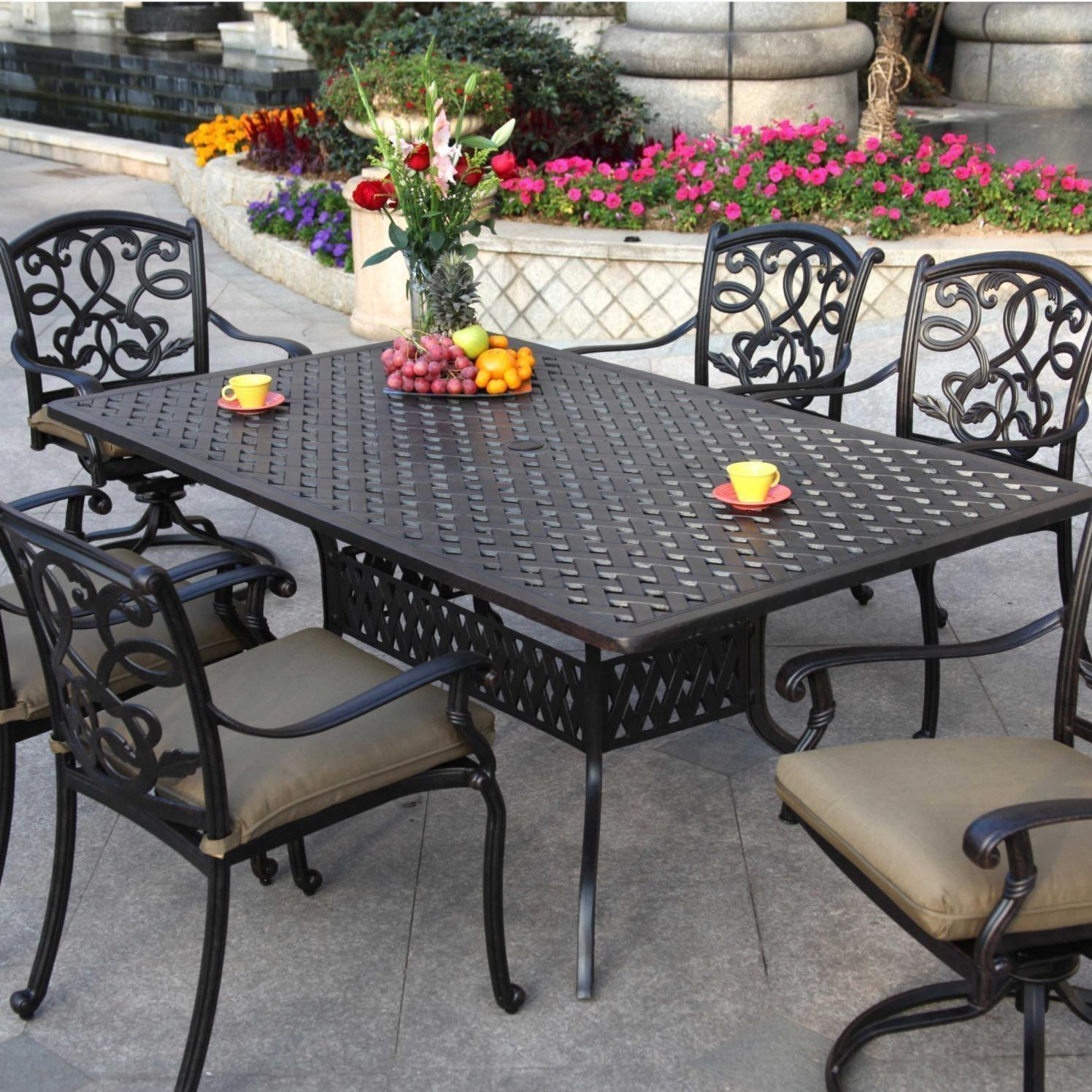 Darlee Santa Monica 7 Piece Cast Aluminum Patio Dining Set With Rectangular Table