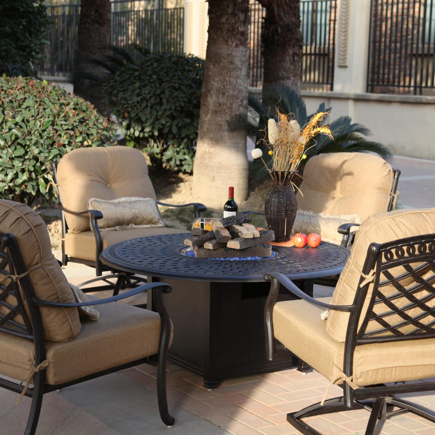Darlee Sedona 5 Piece Cast Aluminum Patio Fire Pit Seating Set Mocha