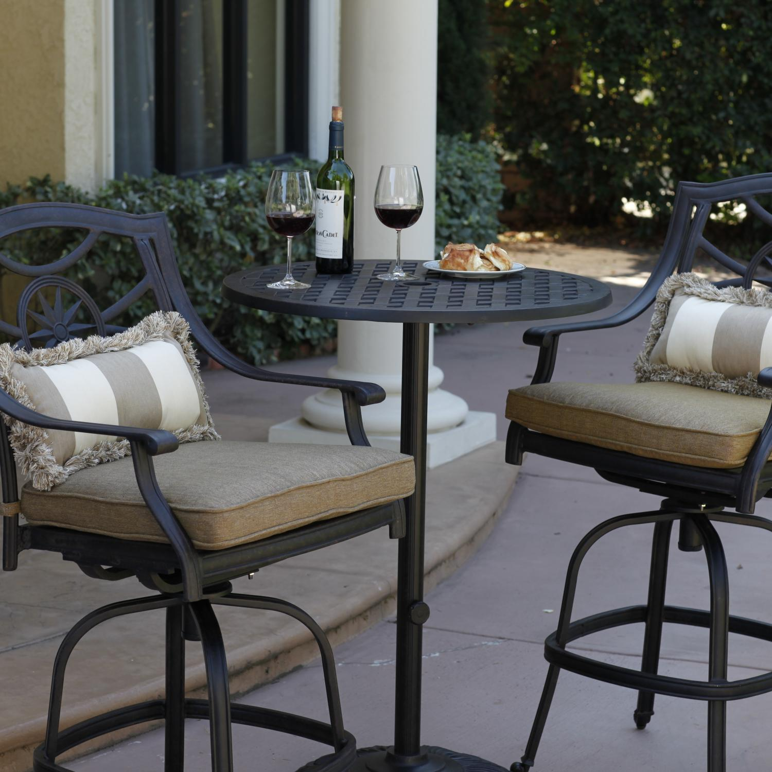 Darlee Ten Star 3 Piece Cast Aluminum Patio Bar Set