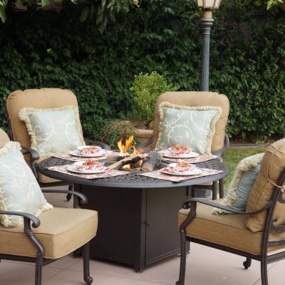 Darlee Santa Monica 4-Person Cast Aluminum Patio Conversation Set With Fire Pit Table