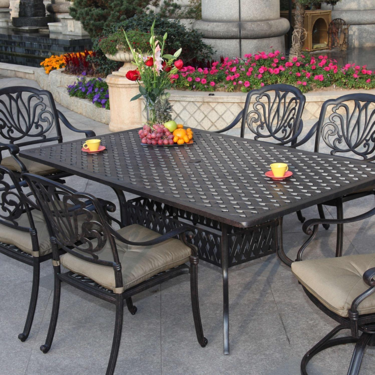 Darlee Elisabeth 7 Piece Cast Aluminum Patio Dining Set