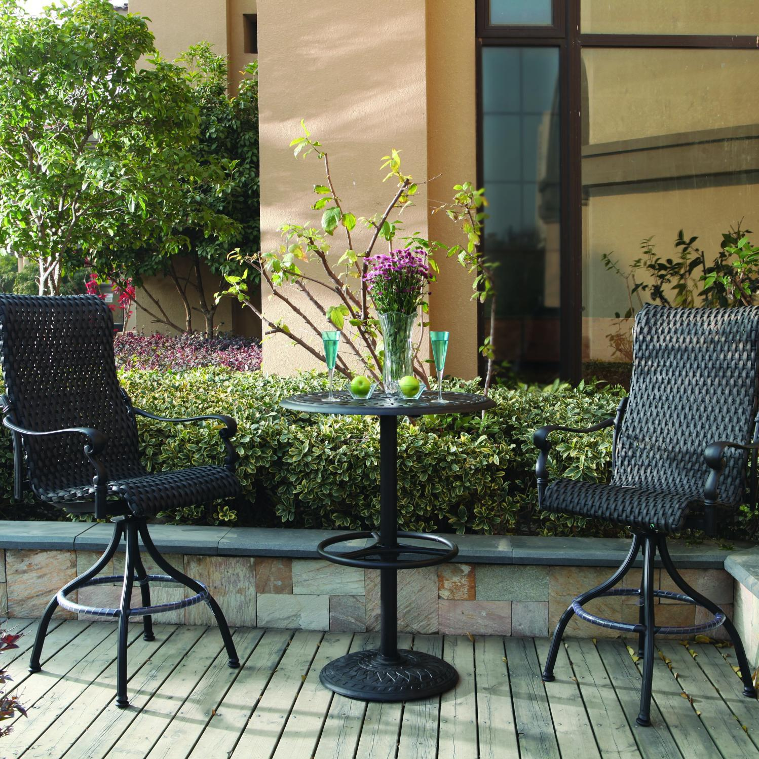 Darlee Victoria 3 Piece Resin Wicker Patio Bar Set