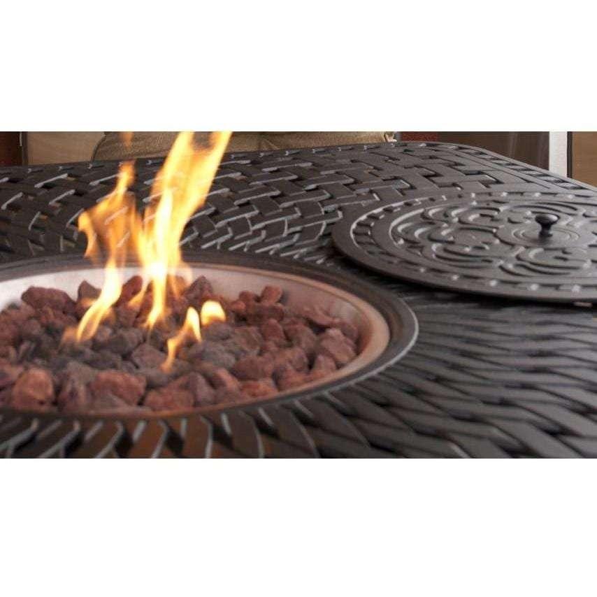 Darlee Santa Anita 9 Piece Cast Aluminum Patio Fire Pit Dining Set