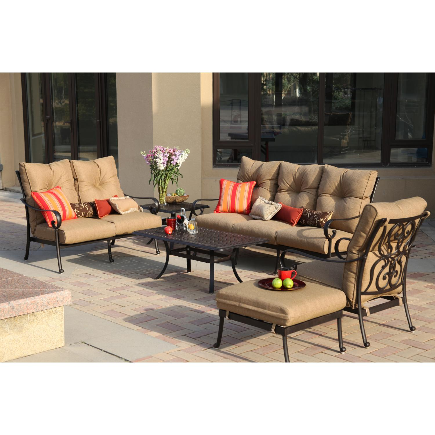 Darlee Santa Anita 6 Piece Aluminum Patio Conversation Seating Set