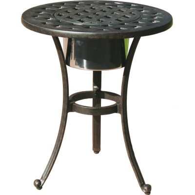 Darlee Series Patio End Table With Ice Bucket Insert - Antique Bronze