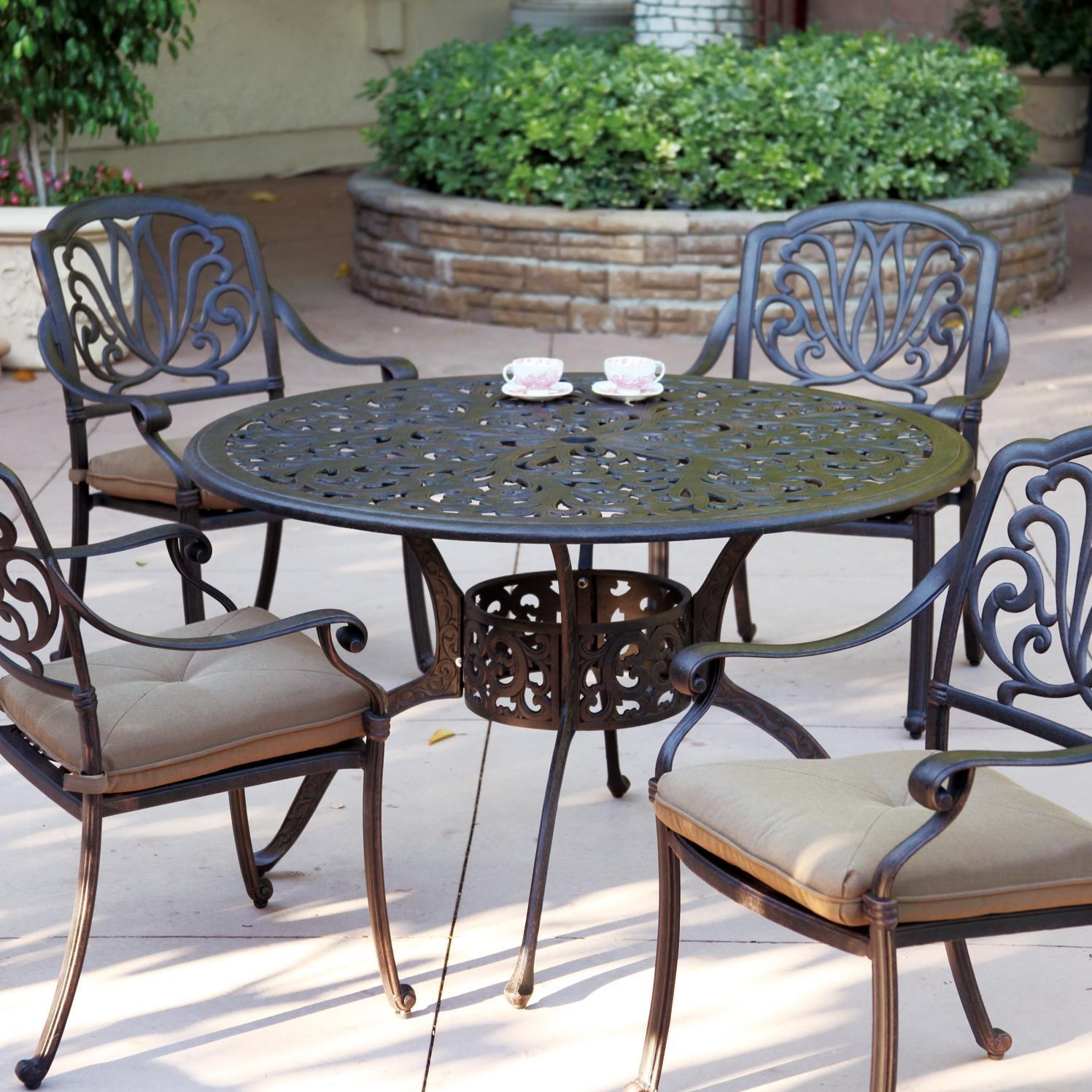 Darlee Elisabeth 5 Piece Cast Aluminum Patio Dining Set