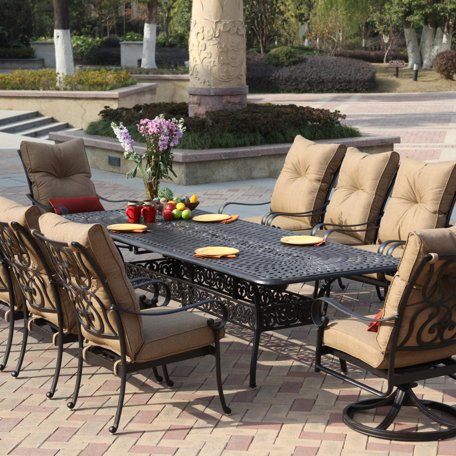 Darlee santa anita 11 piece cast aluminum patio dining set